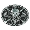 Senmi Marca Negro Cráneo y bandera Pirata de Cuero Hebillas De Correa Única Nuevo y Genial Para Hombre Occidental Hebillas de Cinturones de La Vendimia