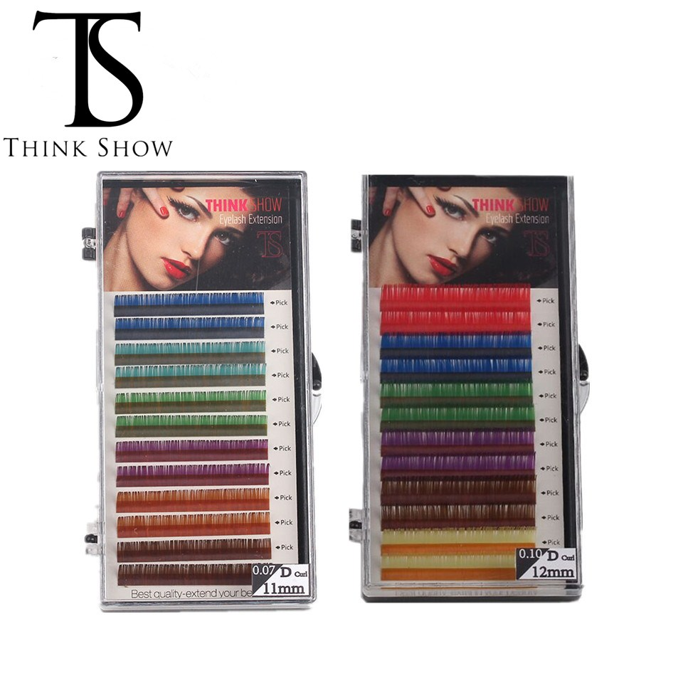 Thinkshow lashes Eyelash Extension Faux Mink color eyelashes colorful cilia 6 Rainbow Colors makeup eyelashes for building