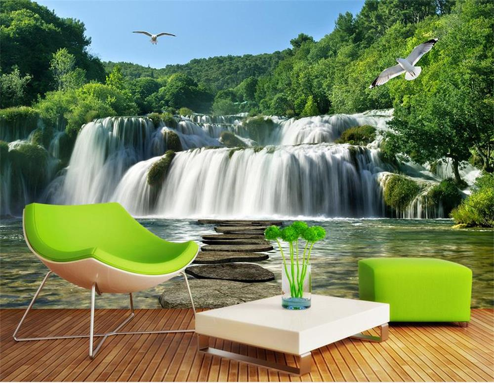 Air terjun mural wallpaper beli murah air terjun mural for 3d wallpaper for living room malaysia
