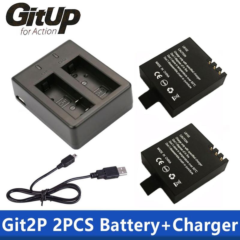 Battery Dual Charger + 2Pcs 1000mAh Original GitUP Backup Rechargeable Li-on Battery For GitUP Git2 / Git2P Sports Action Camera