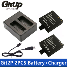 Battery Dual Charger + 2Pcs 1000mAh Original GitUP Backup Rechargeable Li on Battery For GitUP Git2 / Git2P Sports Action Camera