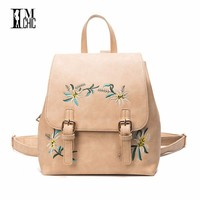 2017 Embroidery Flowers Women S Leather Backpack Retro Pu Elegant Female Bags Student Backpacks For Girls