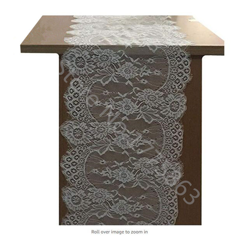 14 X 118 Inch White Lace Table Runner Floral Table Runner For Bridal Shower Rustic Wedding Decorations AA8121-2