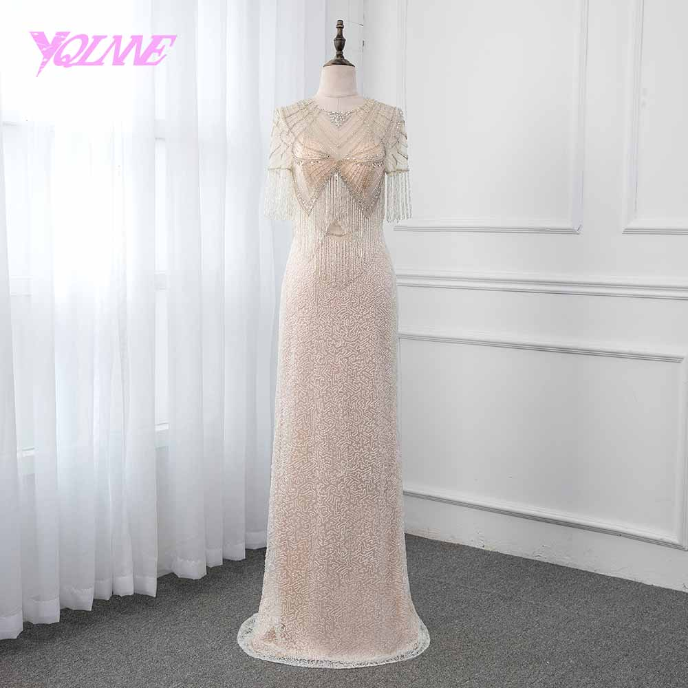 YQLNNE 2019 Luxury Mermaid Evening Dress Illusion Beading Tassel Formal Gown Party Dresses Robe De Soiree