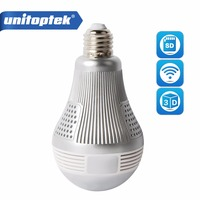 HD 3MP Wireless IP 3D VR Camera WIFI Bulb Light FishEye Panoramic Surveillance 180 360 Degree