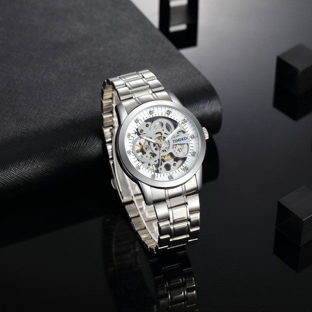 TIME100 - Mechanical Self Wind Skeleton Watch Stainless Steel 2