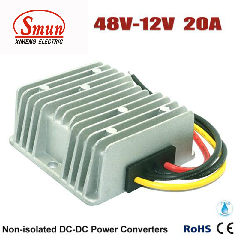SMUN Waterproof DC DC Step-down Converter Reducer 48V to 12V 20A Buck Module Golf Cart Power Converter Regulator converter dc 12v 24v 36v 6 5v 40v step down 3 7v 25a 92w dc buck module car power adapter voltage regulator waterproof