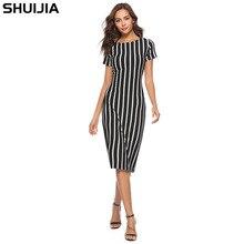 Новое летнее черно-белое платье в вертикальную полоску с короткими рукавами на молнии вокруг шеи пов Лучший!