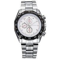 ยี่ห้อยอดนิยมหรูหราบุรุษนาฬิกาชายสามตานาฬิกาควอทซ์สตีลชุดนาฬิกาข้อมือr eloj h ombre