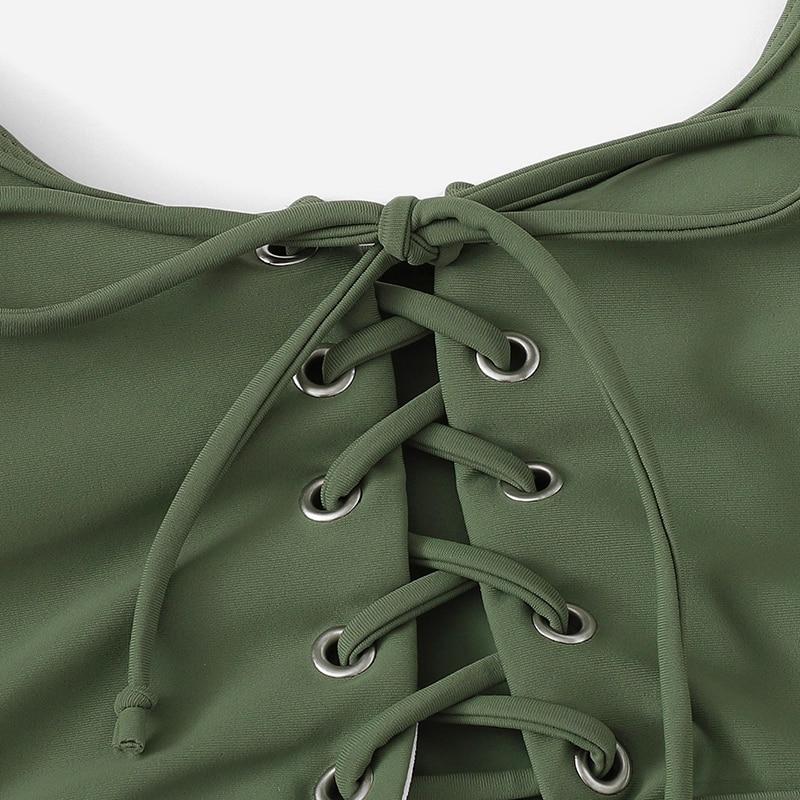 Army Green Plus Size Bikini With Chest Pad 7