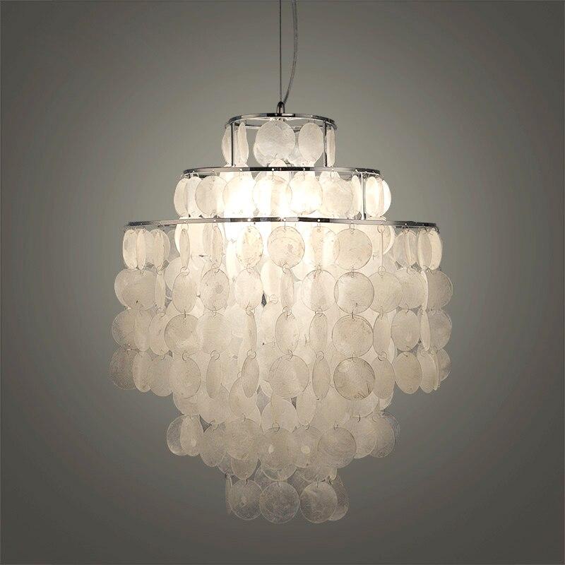 Bricolage moderne blanc naturel coquillage pendentif lampe luminaire E27 lumières Dia 26/30/45 cm Shell lampes pour chambre maison salon