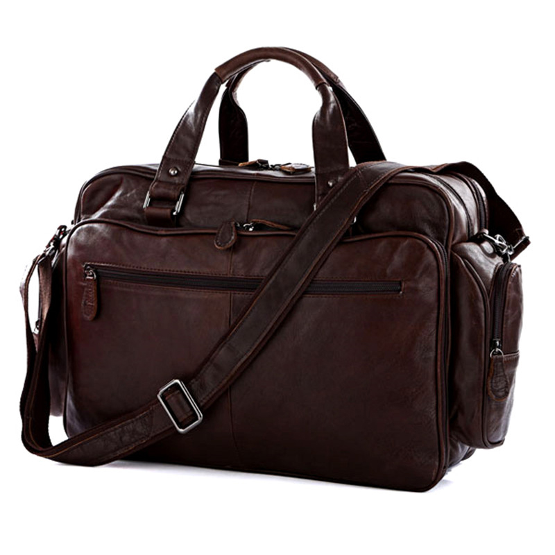 fashion luggage bag genuine leather men travel bag leather men duffle bag shoulder big overnight bags - Mens Leather Duffle Bag