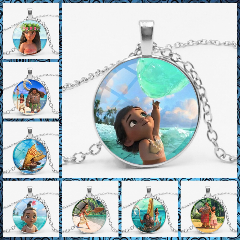 Film Moana Pattern Pendant Necklace. Glass Necklace. Sweater Chain. Fashion Star Glass Necklace.