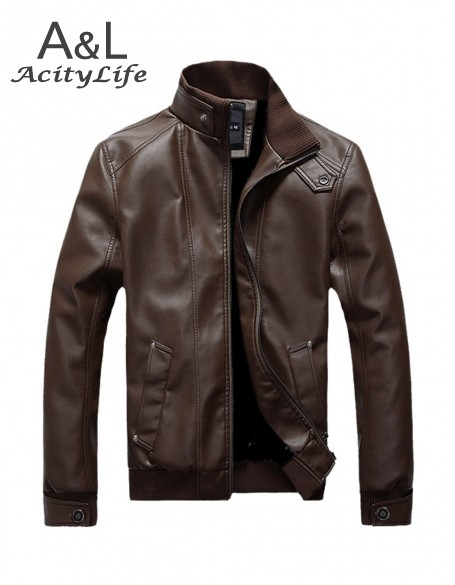 Winter Autumn High grade Quality Casual Stand Collar Leather Jacket Men Jaqueta Couro Color Black Brown