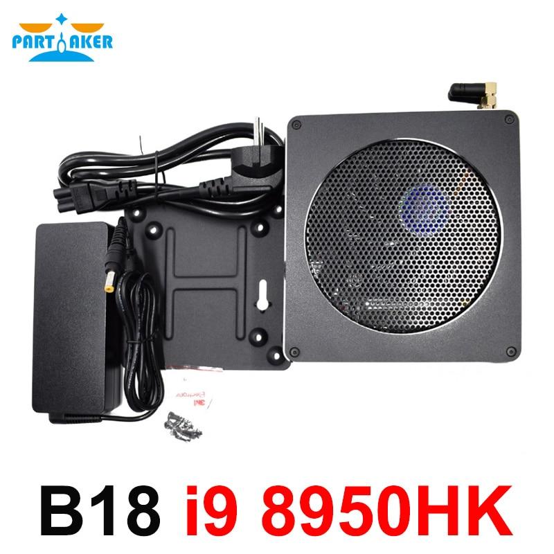 Parpreneur haut ordinateur de jeu Intel core i9 8950HK 6 Core 12 fils 12 M Cache 14nm Nuc Mini PC Win10 Pro HDMI AC WiFi BT DDR4