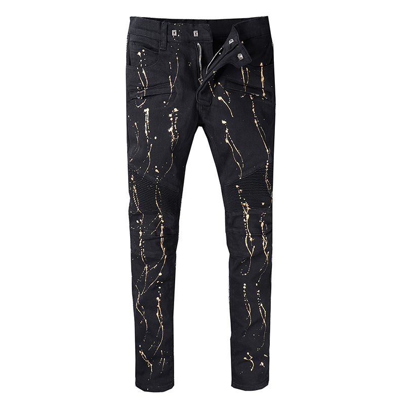 New arrive 2018 Men's Distressed Gold Oil Printed Moto Pants Ribbed Black Skinny Biker Jeans Slim Trousers Size 29-42 inc new black white women s small s printed ribbed knit cropped blouse $69 054