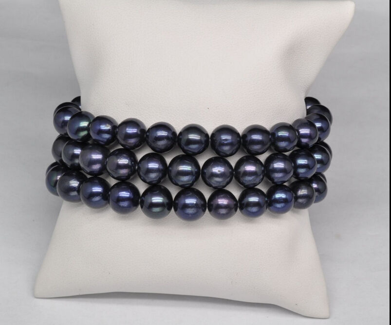 free shipping hot 3 row AAA 9-10mm natural south sea black pearl bracelet 7.5-8 inch r sea page 3 page 9