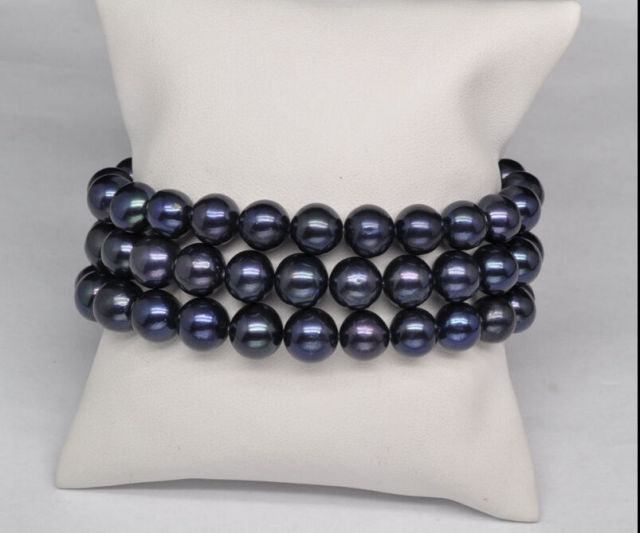 hot 3 row AAA 9-10mm natural south sea black pearl bracelet 7.5-8 inch14k r