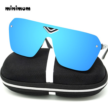 MINIMUN Conjoined Sunglasses Women Dazzle Color Reflector Sports Glasses Fashion Vintage Frameless Men Sunglasses UV400