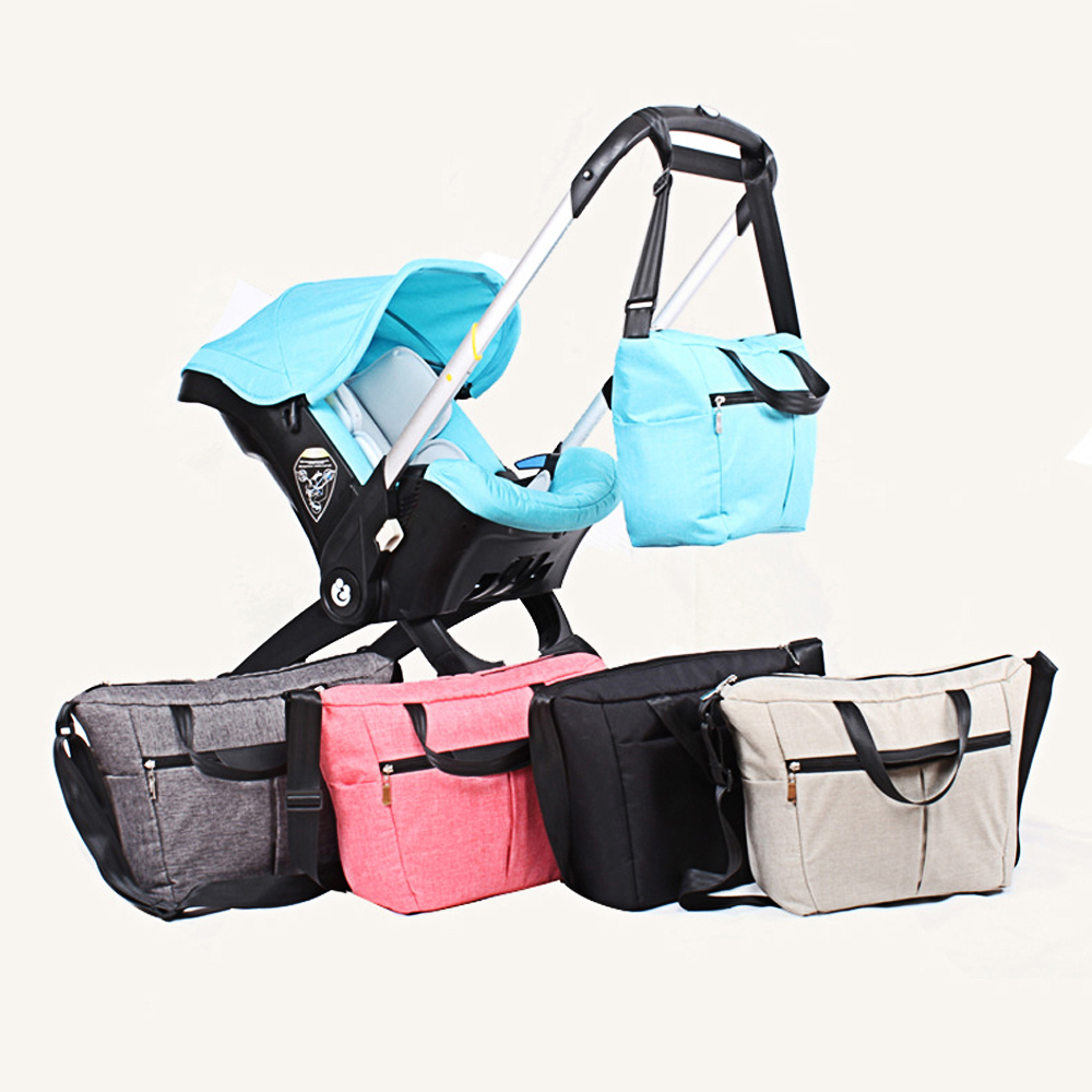 New Redesign Diaper Bag Stroller Organizer With Changing Pad, Simple Solid Pattern, Waterproof