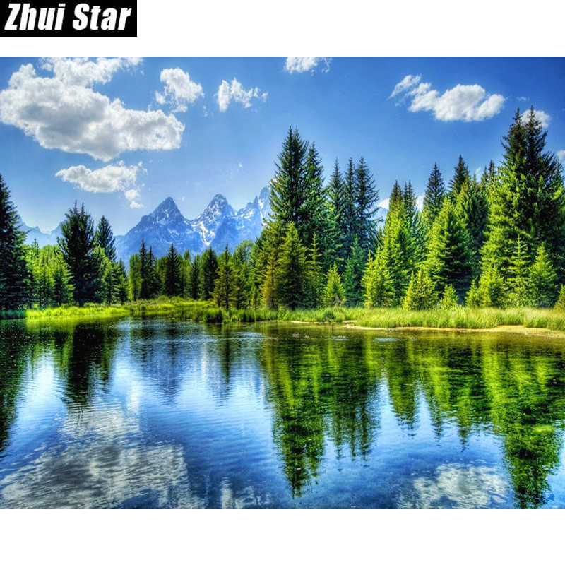 zhui star DIY Round Diamond Painting Kits for Adults Full Drill Cross Stitch Boat Scenery in The Lake Home Decoration 40x50CM