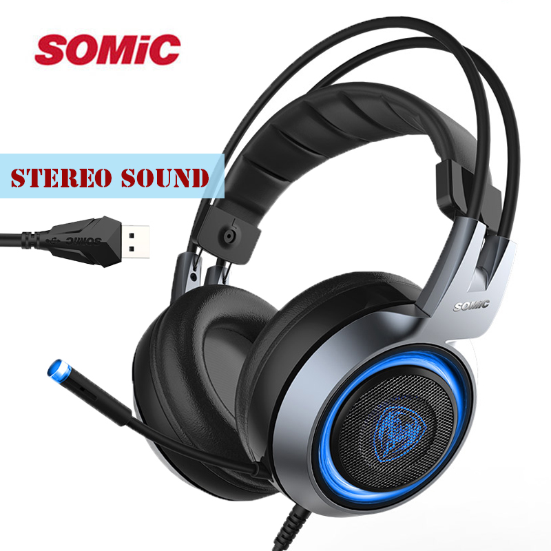 Original SOMIC G951 PS4 Headset USB Gaming Stereo Headphones with Microphone and Blue LED light For Internet Bar, Video Games