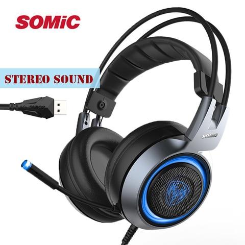 Fones de Ouvido Fone de Ouvido com Microfone Luz para Jogos de Computador Somic Estéreo Jogos Duplo Feixe Vibração Usb 3 Cores Led G951 Som