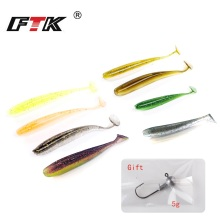 Купить с кэшбэком FTK Fishing Lure Soft Minnow Fake Fish 8 pcs Wobbler Swimbait Bass Silicone Lead Head Gift Wobbling Fishing Hook Seawater GBB