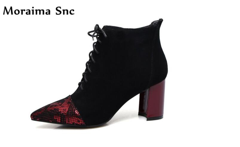Moraima Snc hot selling women Ankle boots vintage suede pointed red toe square heel side zipper lace-up high heel casual shoes moraima snc spring summer newest fashion women boots peep toe lace up ankle lace up sexy thin super high heel