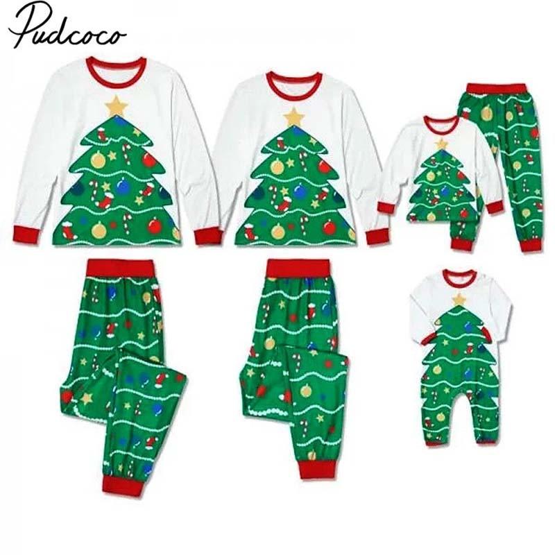 Pudcoco 2018 XMAS Family Matching Christmas Pajamas Set Women Men Kid Christmas Tree Print Sleepwear Nightwear Homewear Costume цена