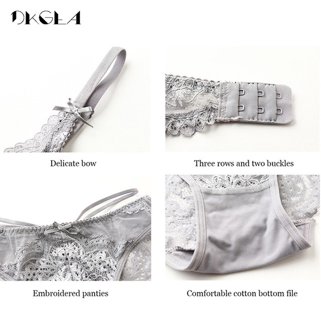 Sexy Bra Panties Embroidery Lace Lingerie Set