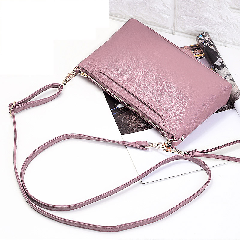 Ms. new wave Korean version of the Joker laptop shoulder bag The first layer Ms. leather Messenger bag zipper leather handbag 2017 hot high quality brand baotou layer of cow leather bags the new ms tassel handbag is a 100% leather handbag