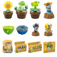 Plants V.s. Zombies Burst Fusion Toupie With Launcher Bucket Plate Toy Figures Kids Gift