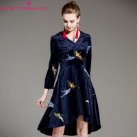 Women Animal Bird Embroidery V Neck Irregular Vlevet Dress Vintage Casual Work Party Ball Formal Flannel