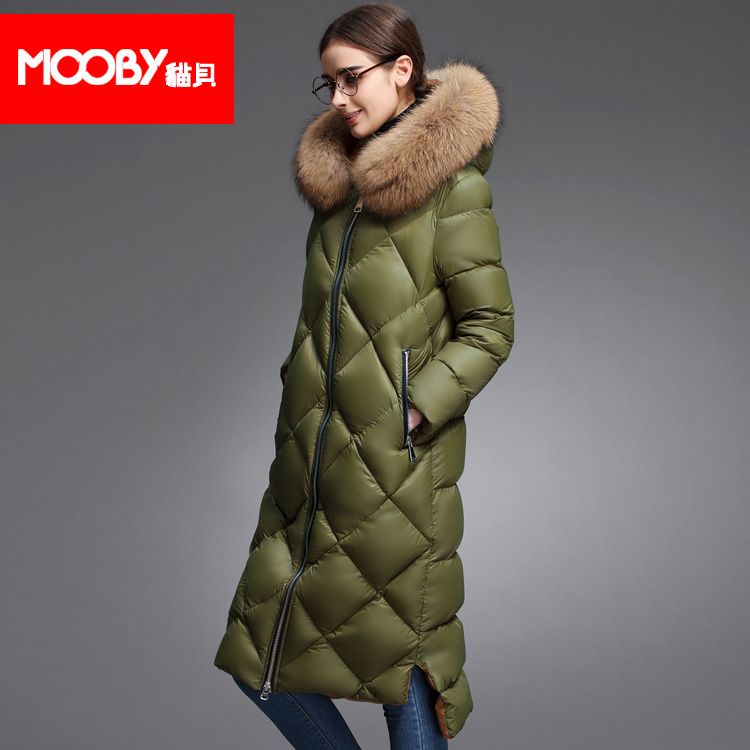 2015 new Hot winter Thicken Warm Woman Down jacket Coat Parkas Outerwear Hooded Raccoon Fur collar Straight long plus size XL
