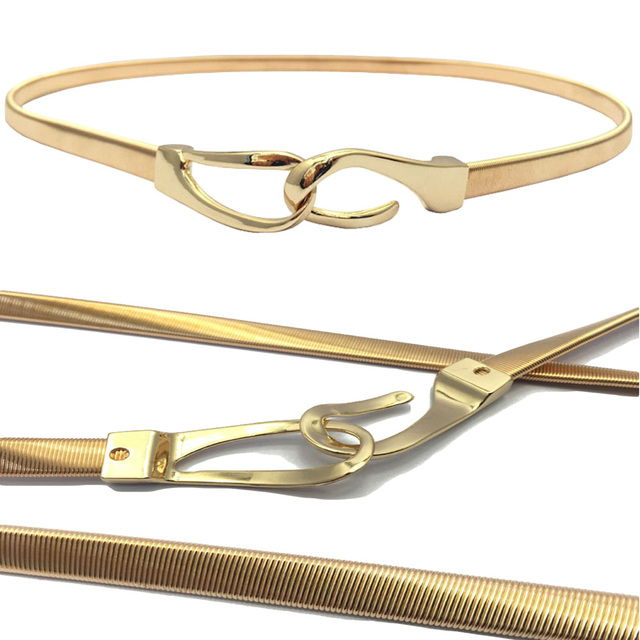 Sunflyfashion USA Women Ladies Gold Metal Skinny Stretchy Chain Belt Buckle Waistband