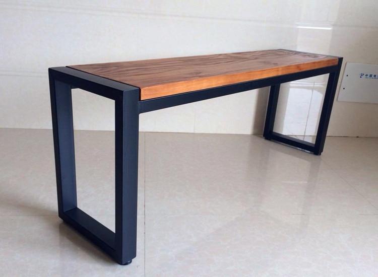 Massief houten meubelen retro ijzeren tafel bureau bankje nordic