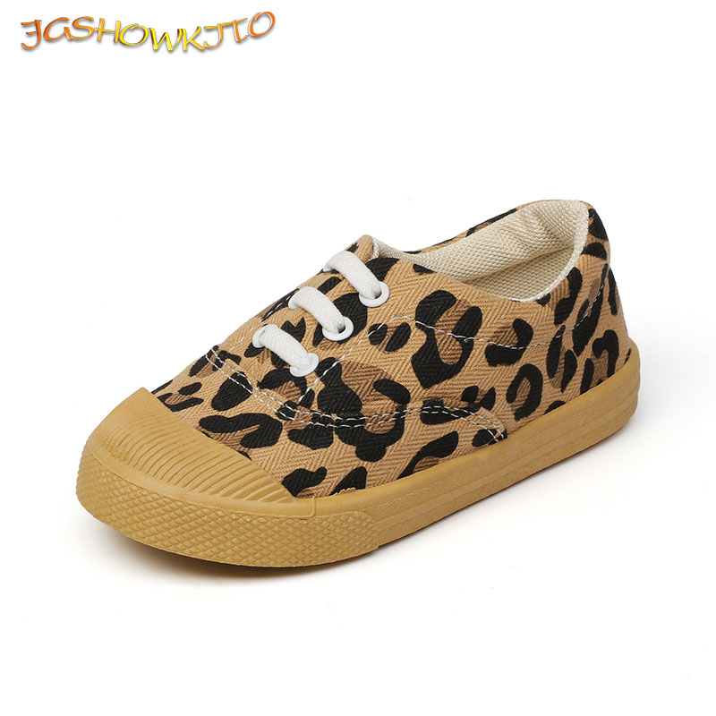 Leopard Prints Kids Shoes Canvas Sneakers For Boys Girls Children's Sports Running Casual Shoes White Shoes For Toddlers 21-30