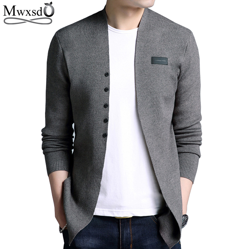 Mwxsd Brand Hot Sell Middle- Long Length Mens Solid Sweater Cardigan Trench Male Casual Autumn Pure Color  Cardigan Sweater