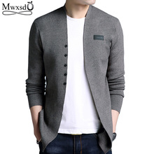 Mid-length Mens Solid Cardigan Sweater