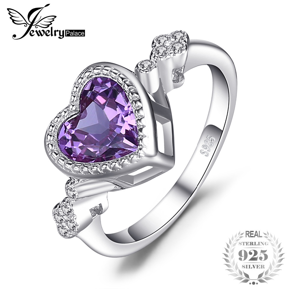 JewelryPalace Heart Love 2.6ct Created Alexandrite Sapphires Ring 925 Sterling Silverr Fine Jewelry hot selling 2018