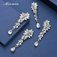 цена на Minmin Elegant Flower Crystal Clip Earrings without Piercing Silver Color Clip On Wedding Earrings Women Fashion Jewelry Meh1566