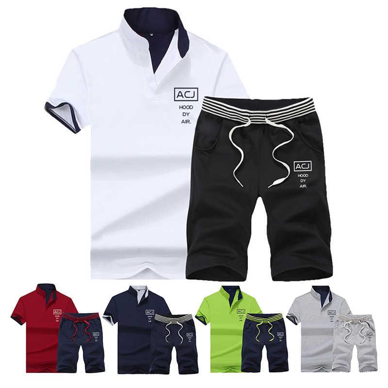 Спортивный костюм мужские наборы брюки летние новые мужские укороченные футболки Шорты повседневные костюмы Спортивная Мужская одежда Мужская толстовка бренд 4XL
