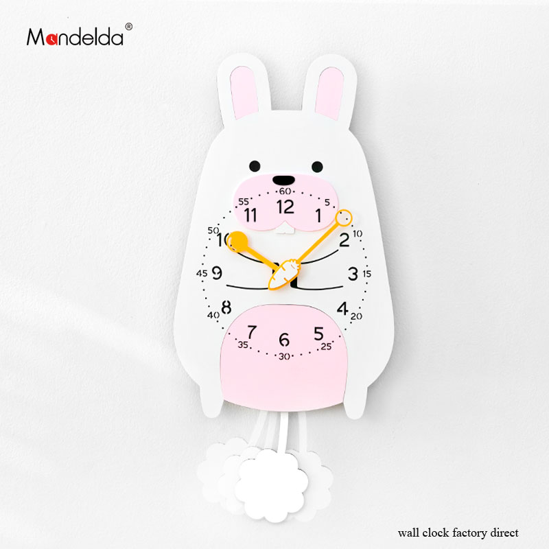 Low Price Home Decor: Low Price Mandelda Cartoon Rabbit Swing Clock Wall Silent