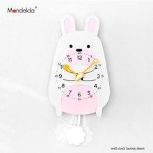 Low Price Mandelda Cartoon Rabbit Swing Clock Wall Silent Watch Creative Cute Design Home Decor Clocks Promotion
