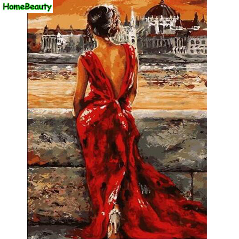 Home Beauty DIY Oil Painting By Numbers Beautiful Lady Wall Canvas Picture Coloring Paint By Number