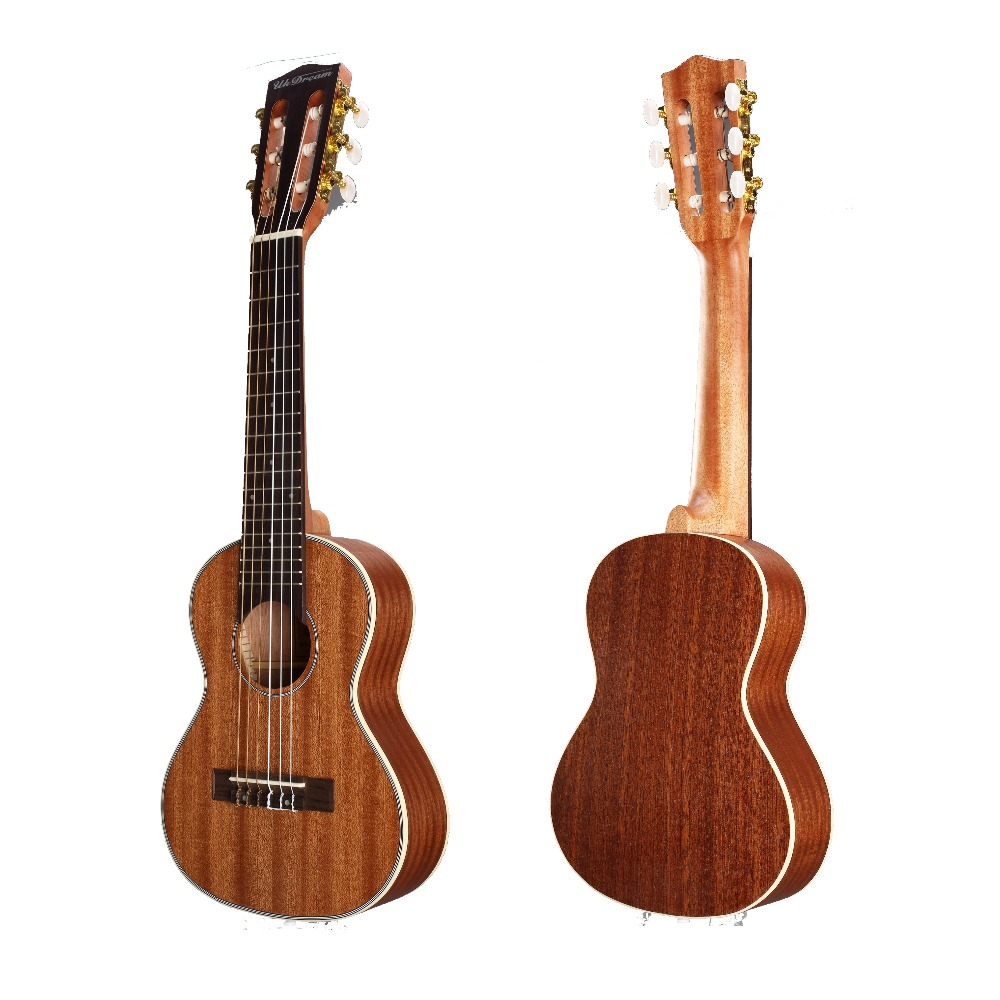Acouway 28 inch Guitar Guitalele Guitarlele ukulele Sapele body 6 Strings 18 Frets Classical Knob Bundle with bag,tuner,capo
