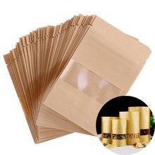 50 шт./лот стоьте вверх замок на молнии крафт подарочный бумажный пакет с матовым полупрозрачным окном внутри с ПЭ крафт-бумага мешок