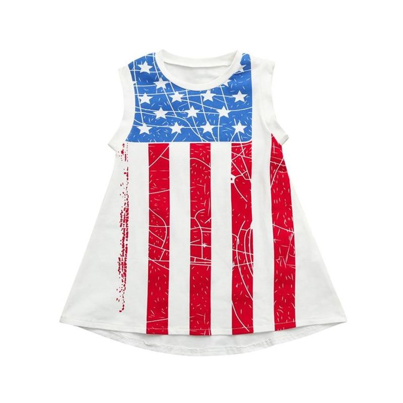 Одежда для малышей для девочек со звездным принтом 4th июля платье Топы полосатая одежда 2018 платье принцессы наряды одежда S3MAY7