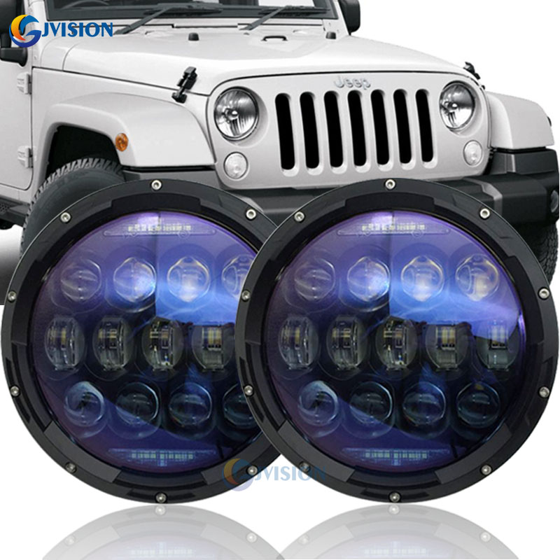 7 Inch round led headlights H4 Hi/Low beam with White DRL Amber trun signal lights for Jeep Wrangler JK Accessories Hummer H1 H2 7 inch 30w led headlight hi low beam headlamp with red demon eye white angel eye green halo white halo for jeep hummer h1 h2
